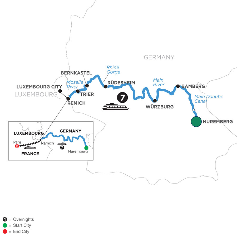 River Cruise Map of Central European Experience with 2 Nights in Paris (Westbound)