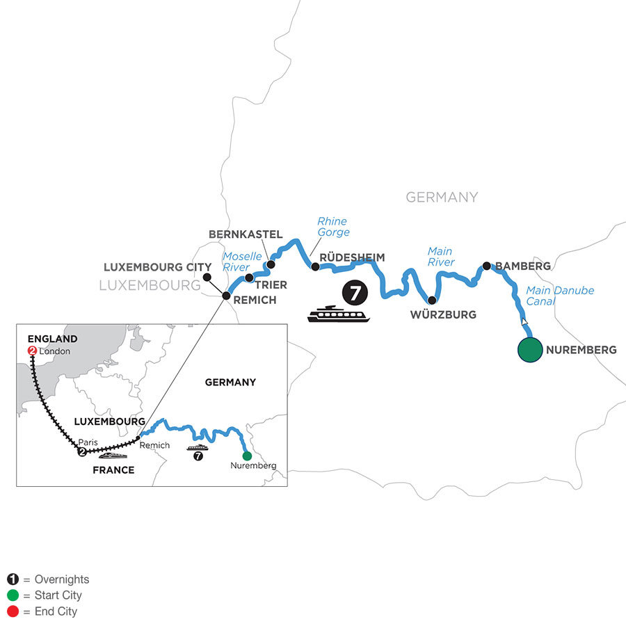 River Cruise Map of Central European Experience with 2 Nights in Paris & 2 Nights in London (Westbound)