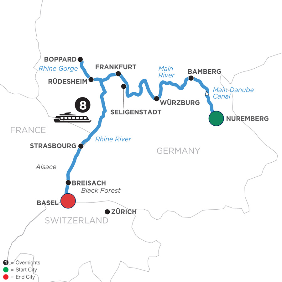 River Cruise Map of German Grandeur for Beer Enthusiasts (Westbound)