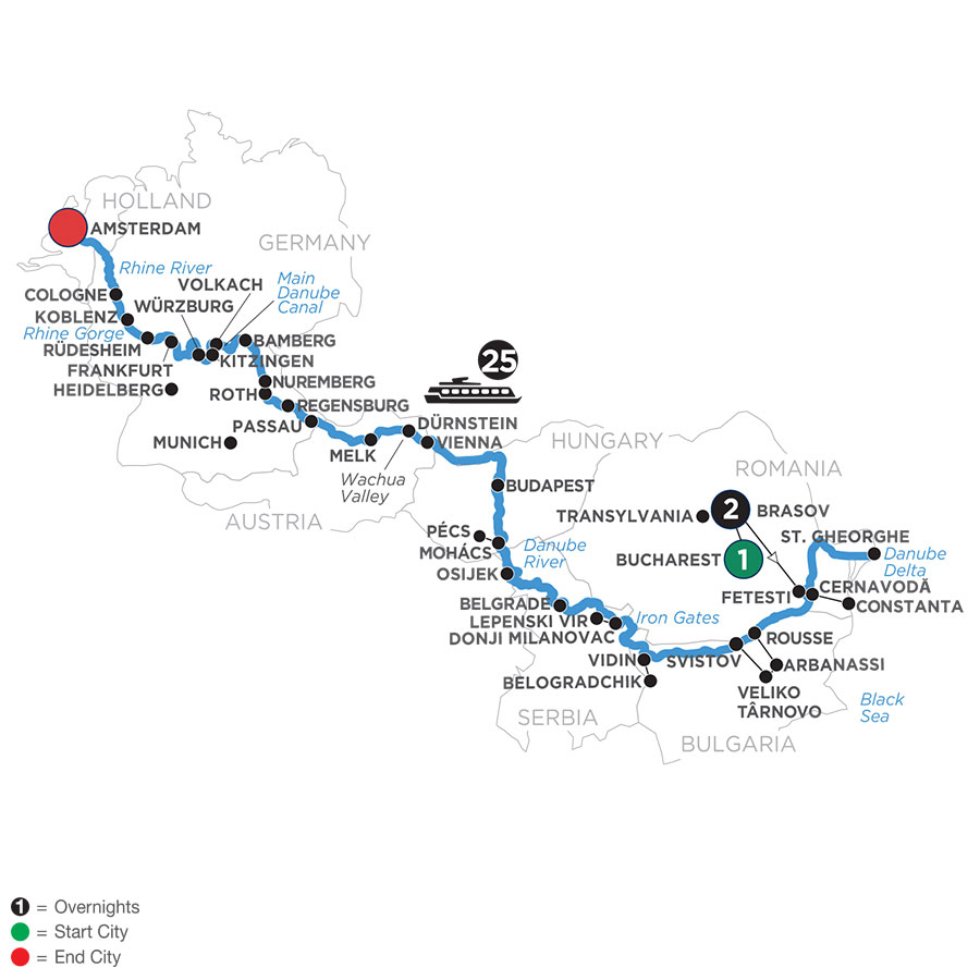 River Cruise Map of From the Black Sea to the North Sea with 2 Nights in Transylvania