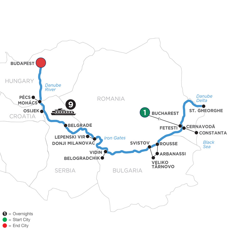 River Cruise Map of The Danube from Black Sea to Budapest