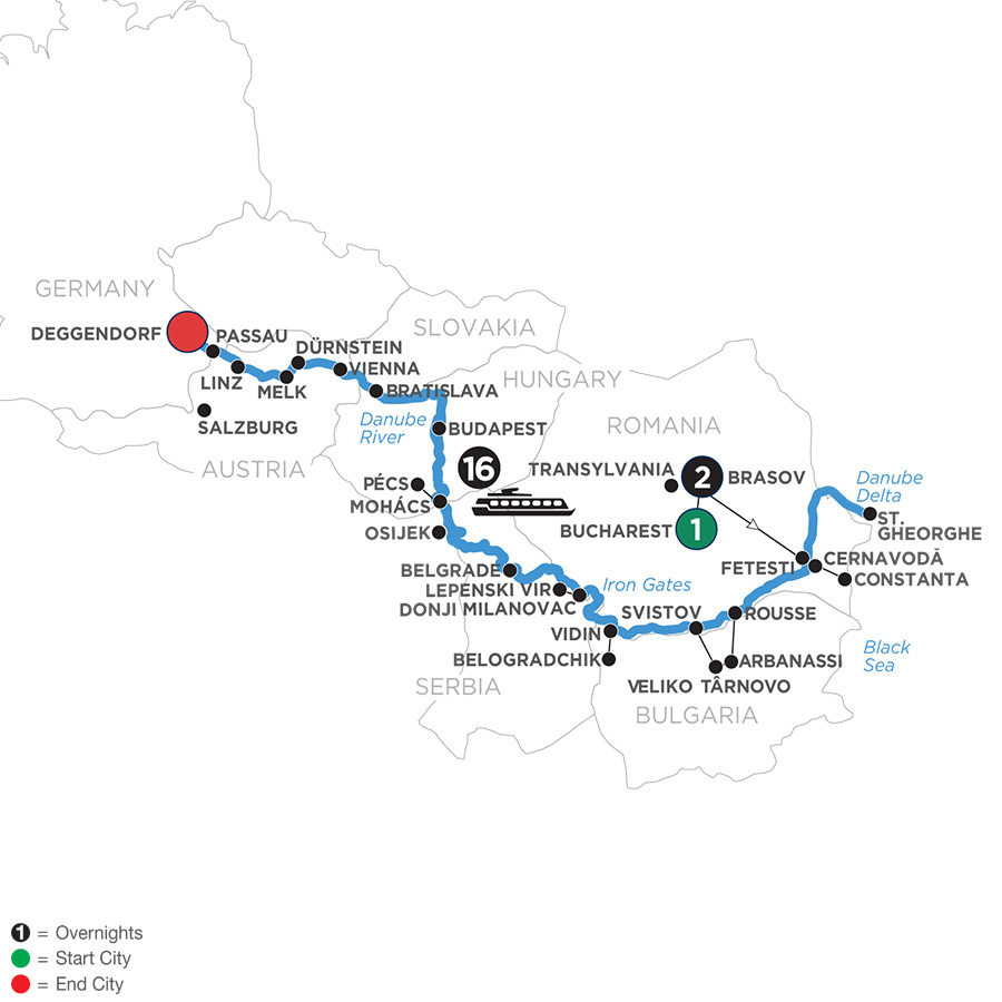 The Danube from the Black Sea to Germany with 2 Nights in Transylvania for Wine Lovers