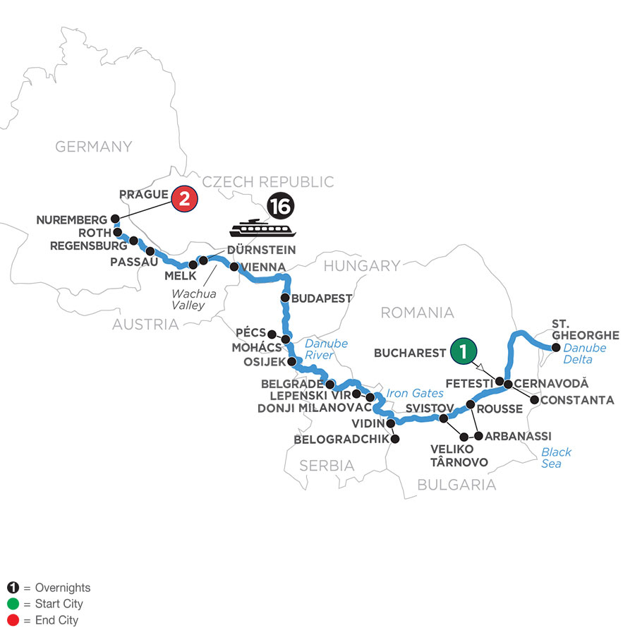 River Cruise Map of The Complete Danube with 2 Nights in Prague