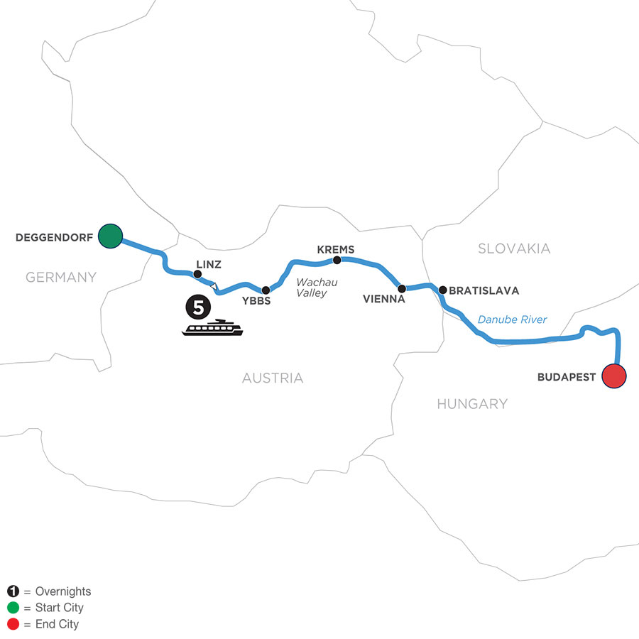 River Cruise Map of Danube Symphony
