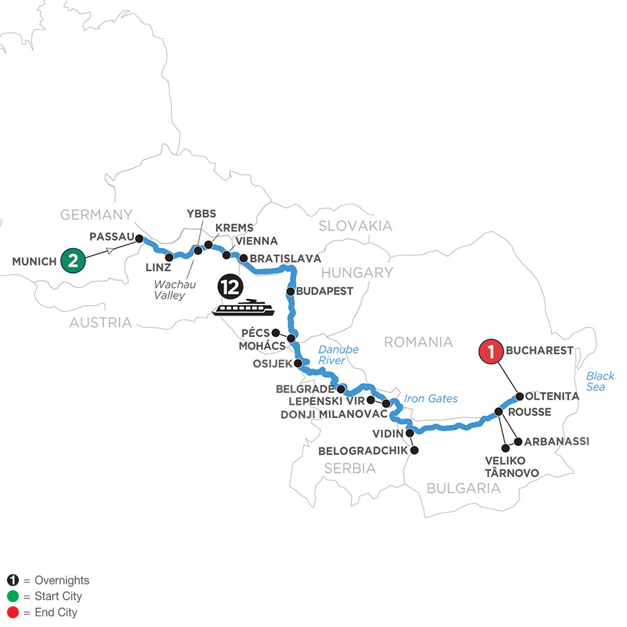 River Cruise Map of Danube Serenade with 2 Nights in Munich