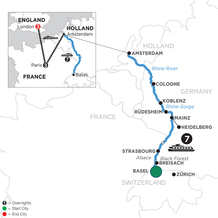 River Cruise Map of Romantic Rhine with 3 Nights in Paris & 3 Nights in London with Jewish Heritage (Northbound)