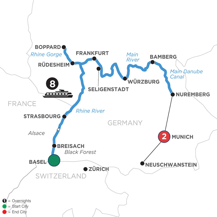 River Cruise Map of German Grandeur with 2 Nights in Munich (Eastbound)