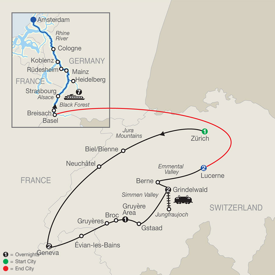 River Cruise Map of Spectacular Switzerland with Romantic Rhine