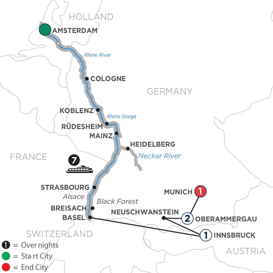 Romantic Rhine with Oberammergau