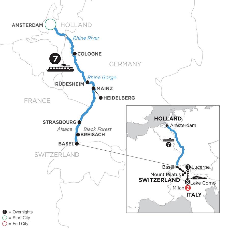 Romantic Rhine with Mount Pilatus, 1 Night in Lucerne, 3 Nights in Lake Como & 2 Nights in Milan (Southbound)