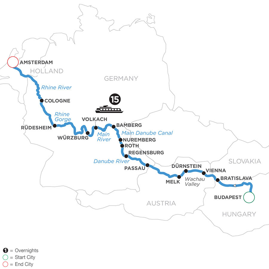 River Cruise Map of Magnificent Rivers of Europe