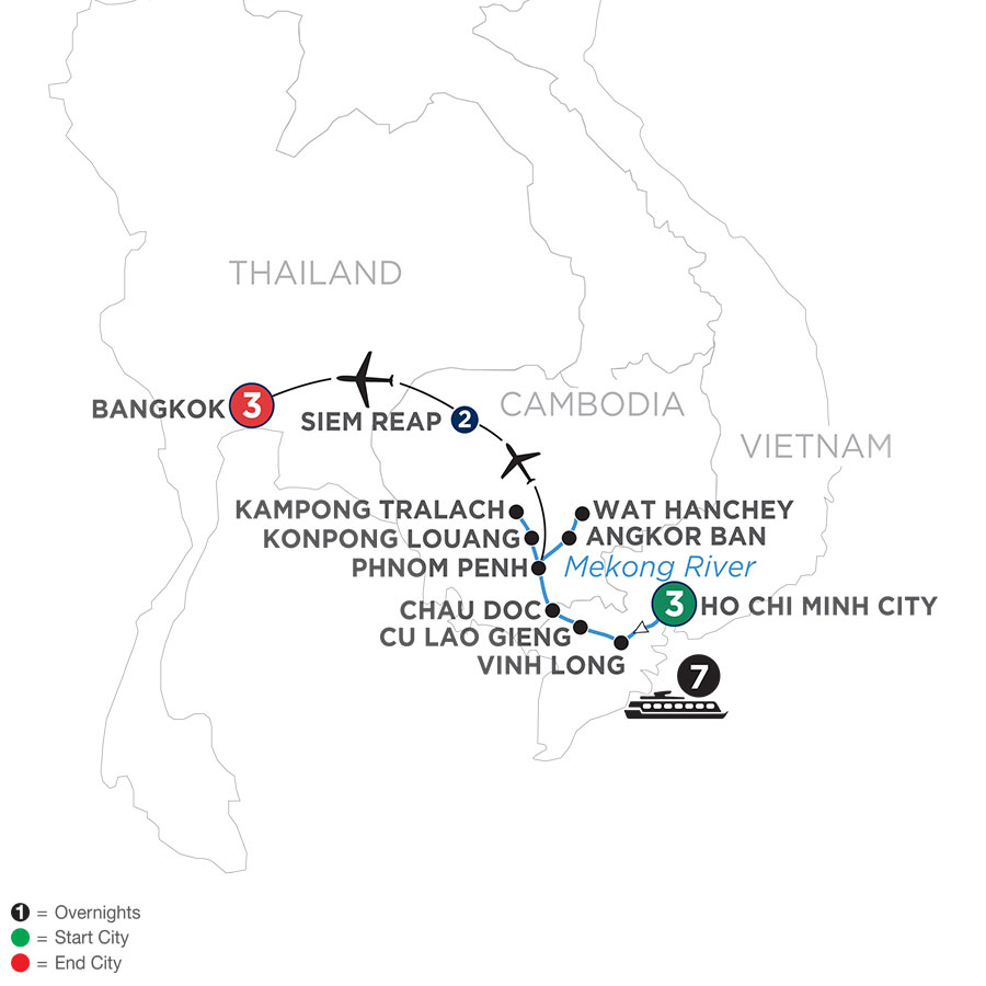 Fascinating Vietnam, Cambodia & the Mekong River with Bangkok (Northbound)