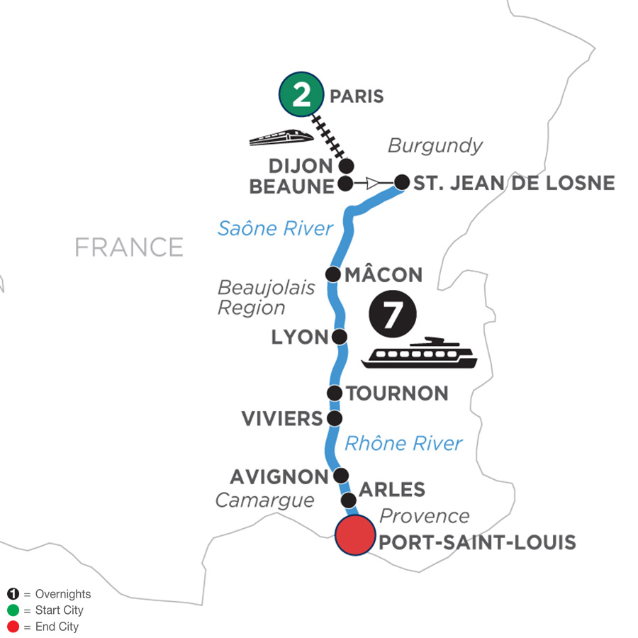 River Cruise Map of Burgundy & Provence with 2 Nights in Paris for Wine Lovers (Southbound)
