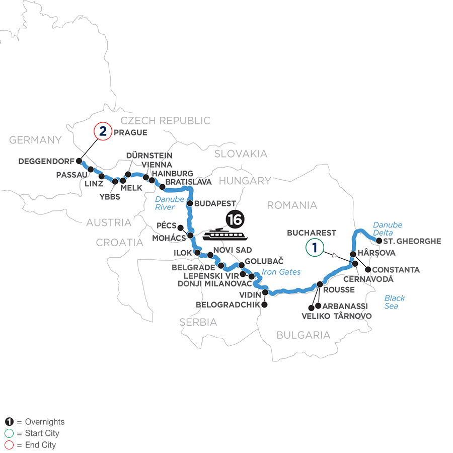 The Danube from the Black Sea to Germany with 2 Nights in Prague