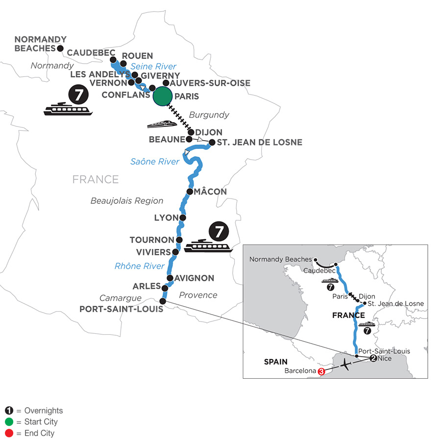 River Cruise Map of Grand France with 2 Nights in Nice & 3 Nights in Barcelona for Wine Lovers (Southbound)