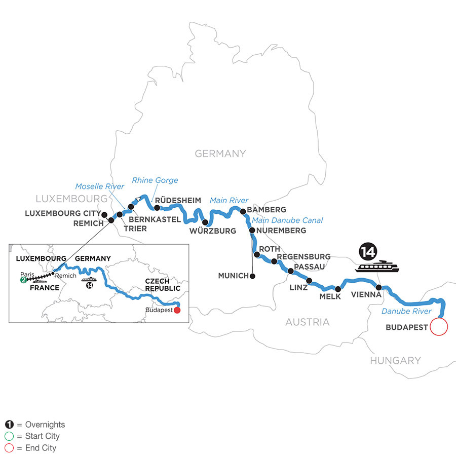 Jewels of Central Europe with 2 Nights in Paris (Eastbound)