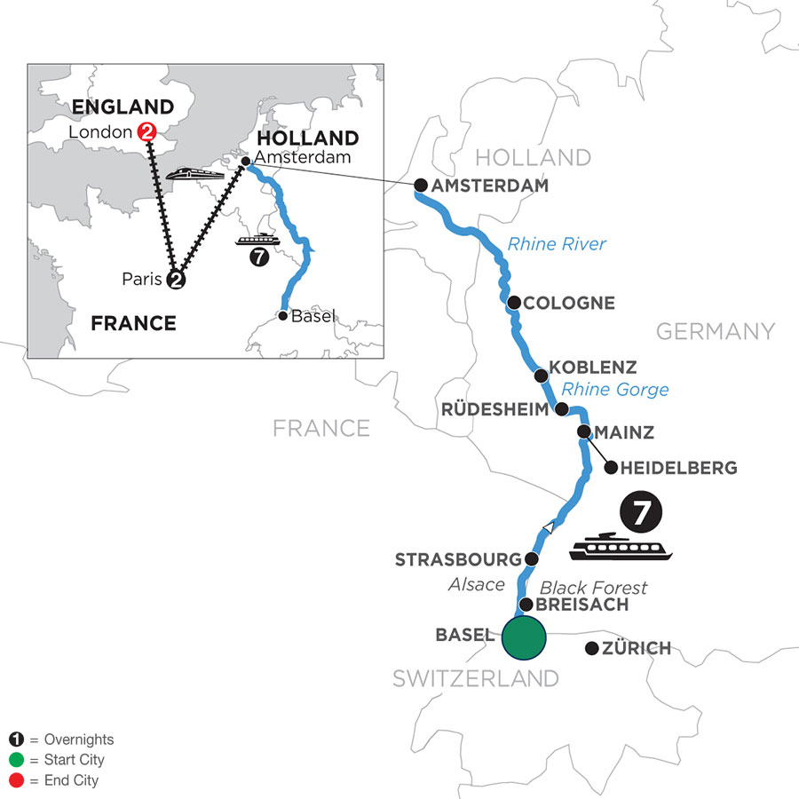 River Cruise Map of Romantic Rhine with 2 Nights in Paris & 2 Nights in London (Northbound)