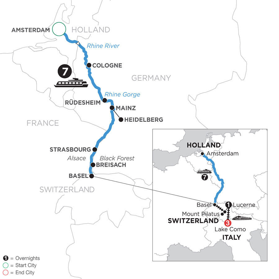 Romantic Rhine with Mount Pilatus, 1 Night in Lucerne & 3 Nights in Lake Como (Southbound)