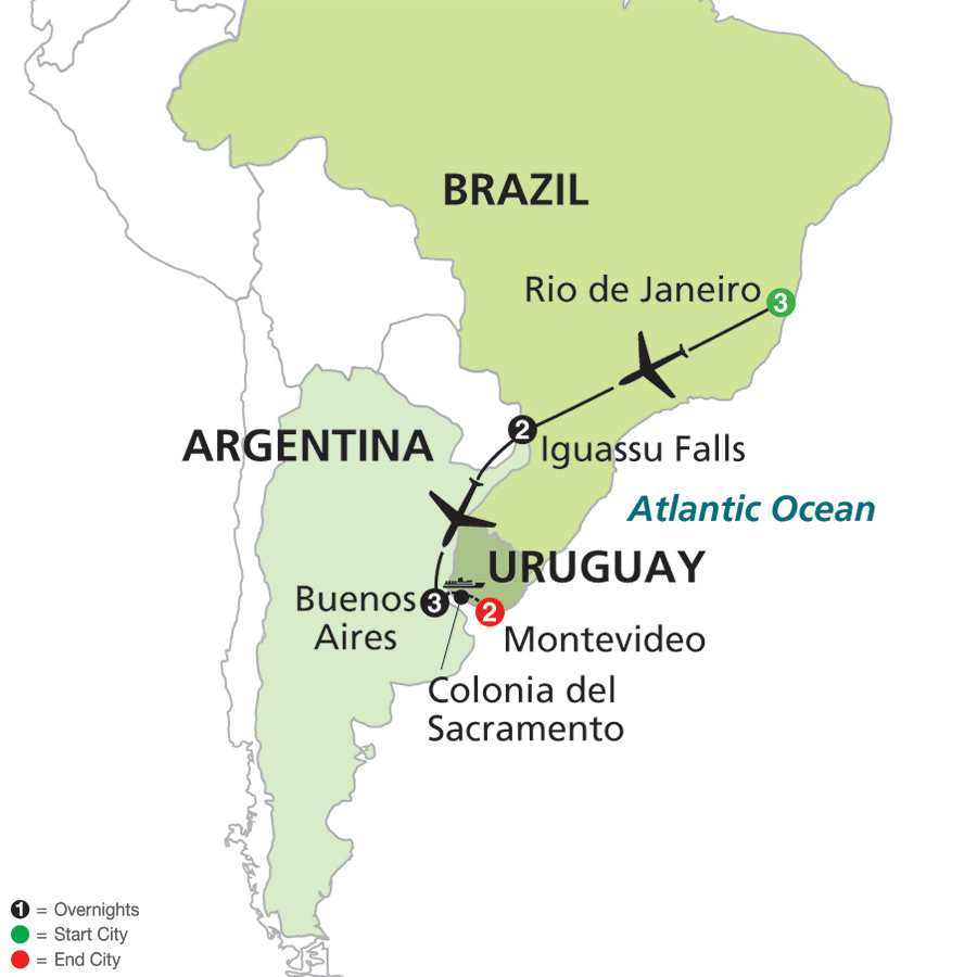 Nights The Best Of Brazil And Argentina With Uruguay Fox - Argentina map world