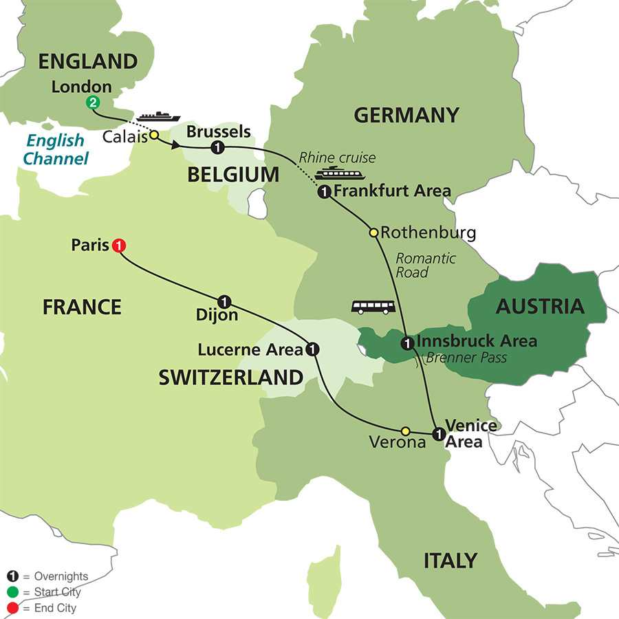 Cosmos Tours Tours Switzerland Experience the hasslefree – Map of Germany and England