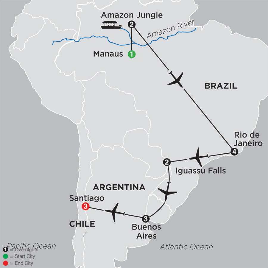 Brazil, Argentina and Chile Unveiled with Brazils Amazon (11022018)