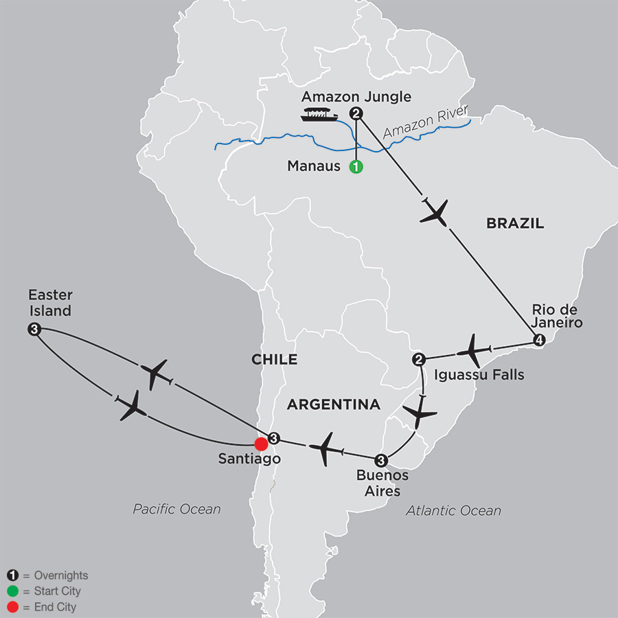 Brazil, Argentina and Chile Unveiled with Brazils Amazon and Easter Island (11092018)