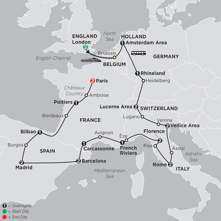Itinerary map of The Grand European 2018 from London to Paris
