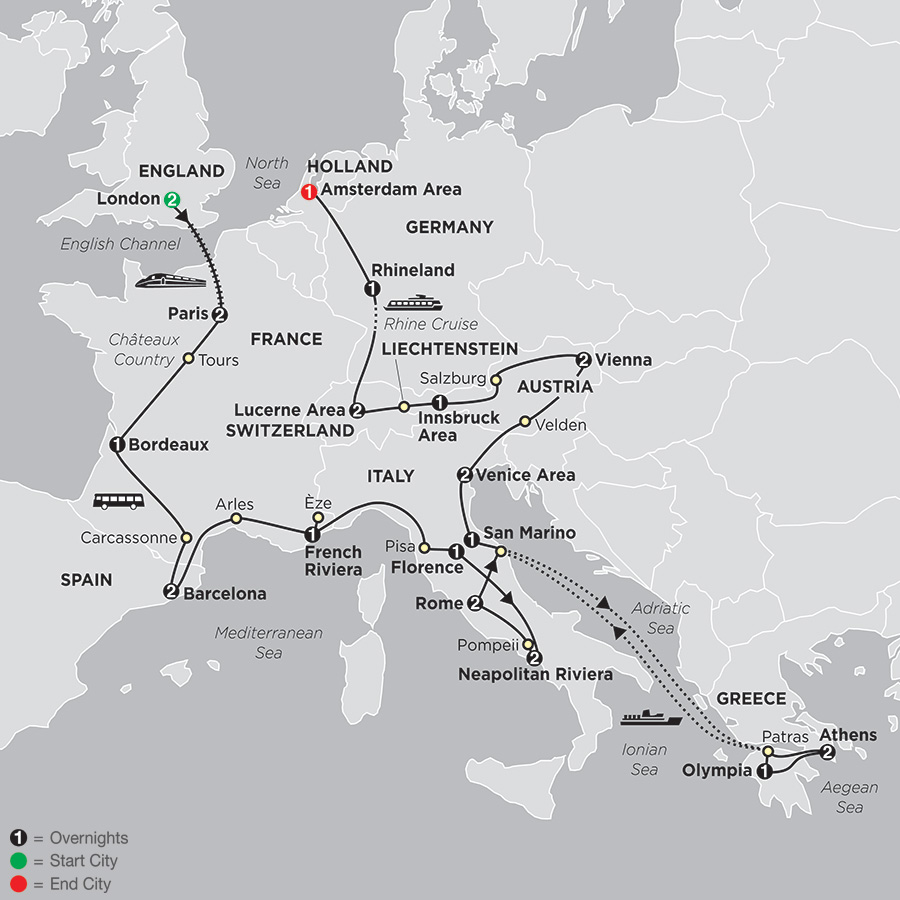 Itinerary map of European Masterpiece 2018 from London to Amsterdam