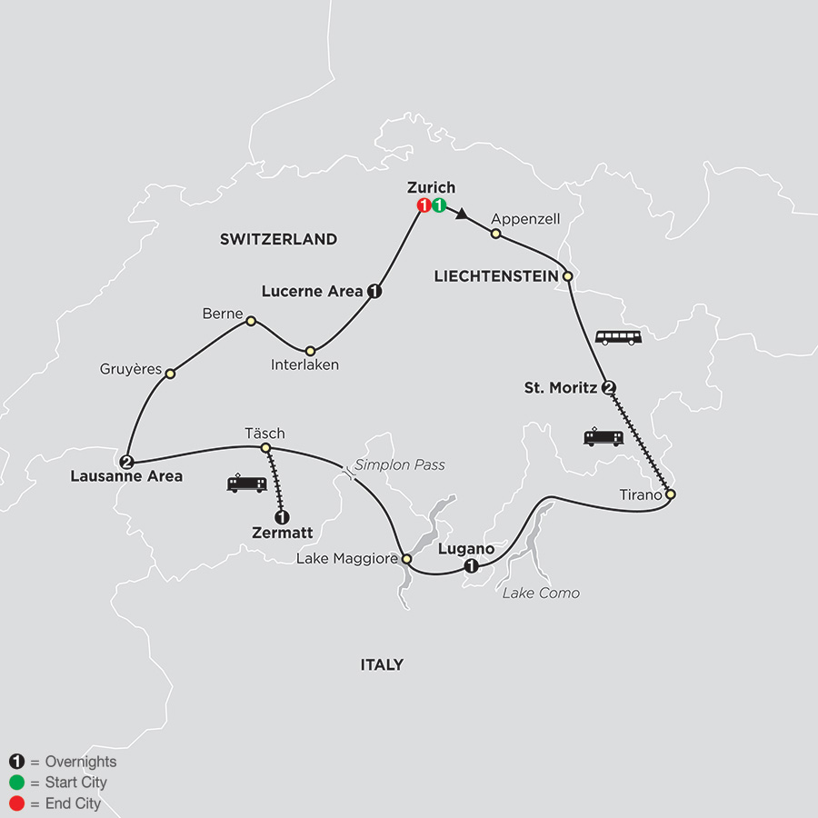 Itinerary map of Grand Tour of Switzerland 2018 from Zürich to Zürich