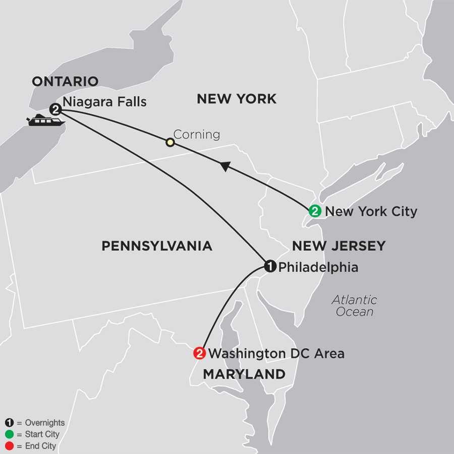 United States Travel Packages Cosmos Eastern US Tours - United states map washington dc