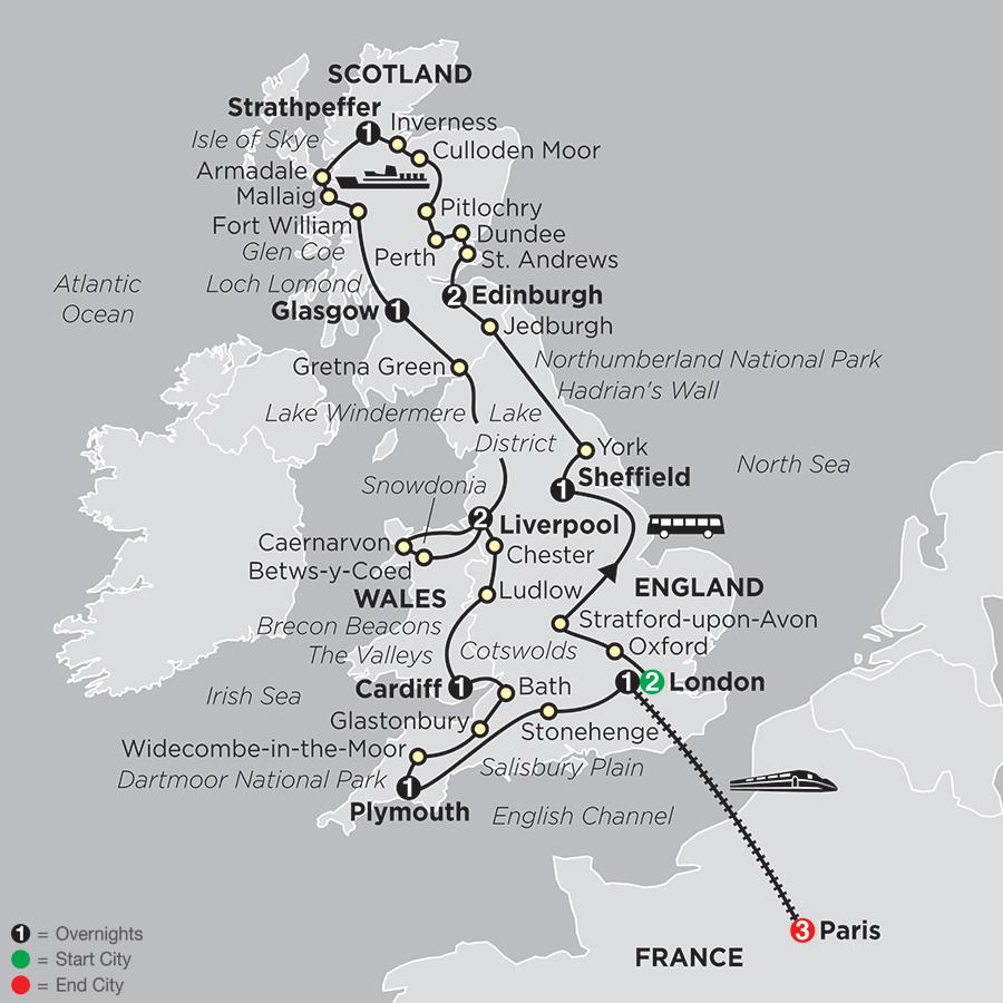 England, Scotland and Wales with Paris (900E2018)