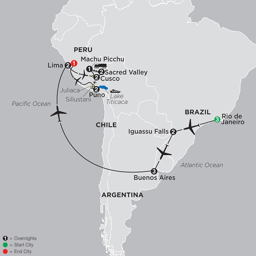 Itinerary map of Ultimate South America 2019 from Rio de Janeiro to Lima