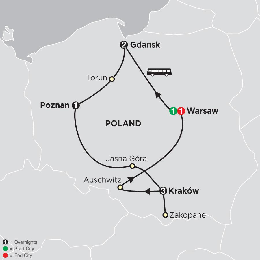 Warsaw Europe Map.Eastern Europe Tours Cosmos Budget Tours