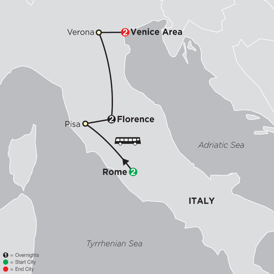 Map Of Italy Showing Pisa.Italy Tours Cosmos Affordable Tour Packages