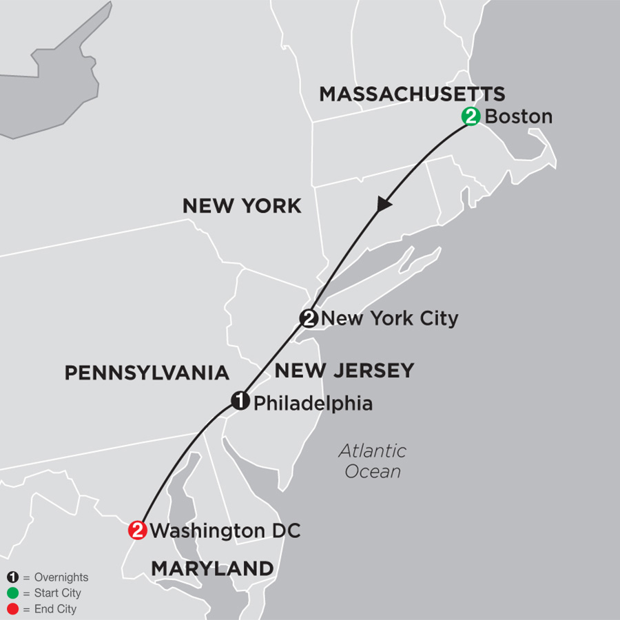 Itinerary map of Cities of the Great East 2019 from Boston to Washington DC