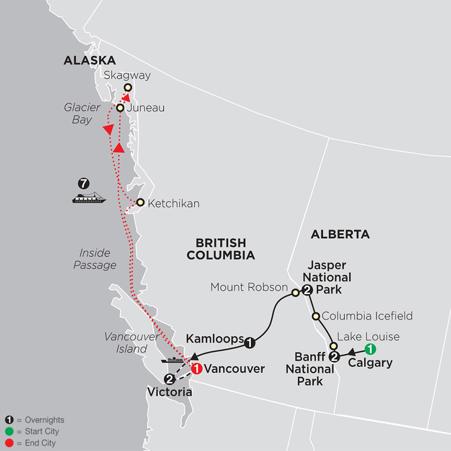 Map Of Canada Vancouver To Calgary.Western Canada Tours Cosmos Affordable Travel
