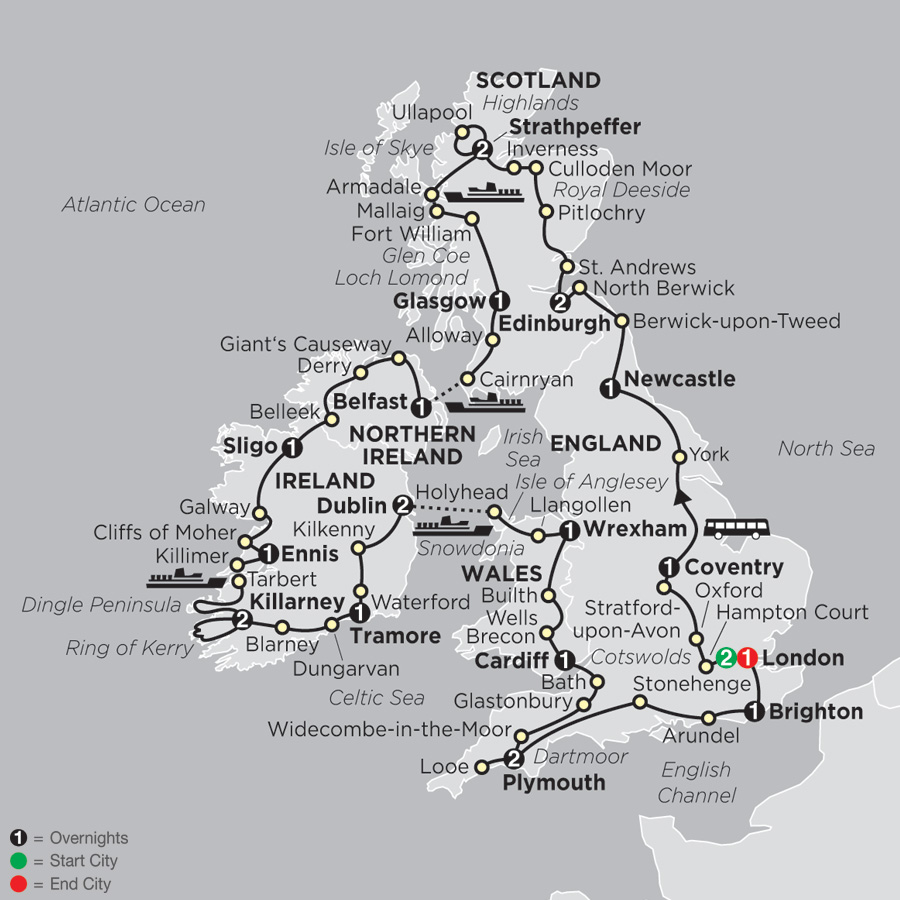 Map Of England And Ireland And Scotland And Wales.Britain Discounted Tours By Cosmos