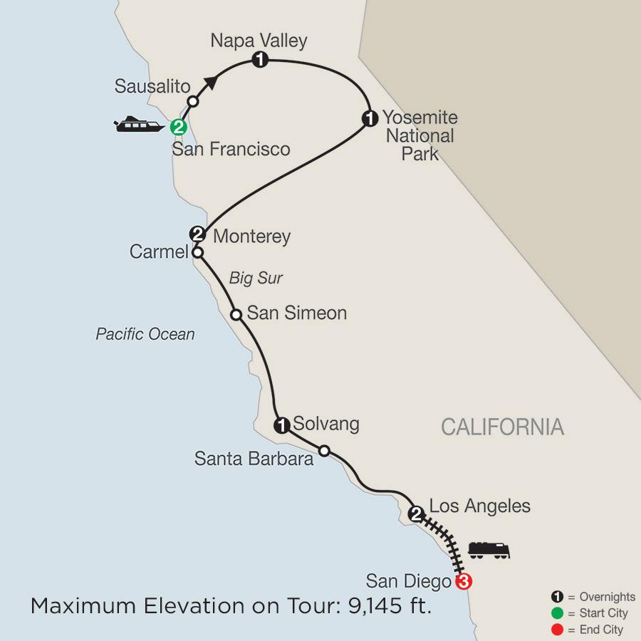 san diego to san francisco map Los Angeles