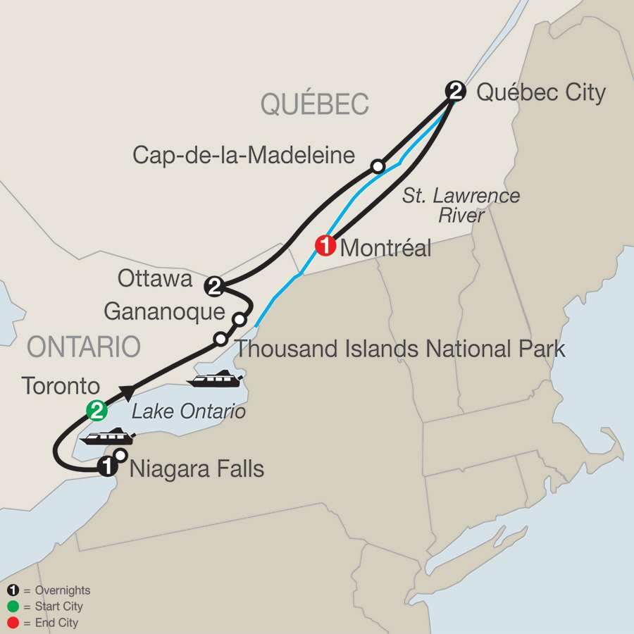 Eastern Canada Tours  Vacation Packages Globus  Vacation - Map of usa and canada east coast