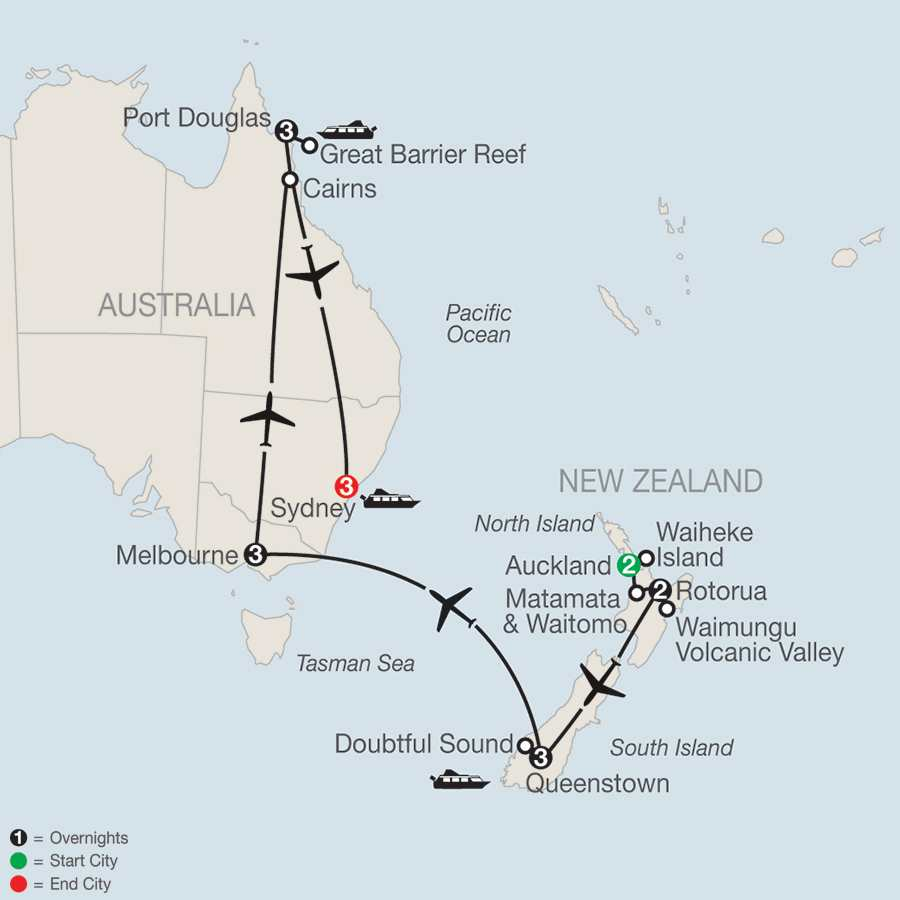 New Zealand Escorted Vacation and Tour Packages – Auckland Australia Map