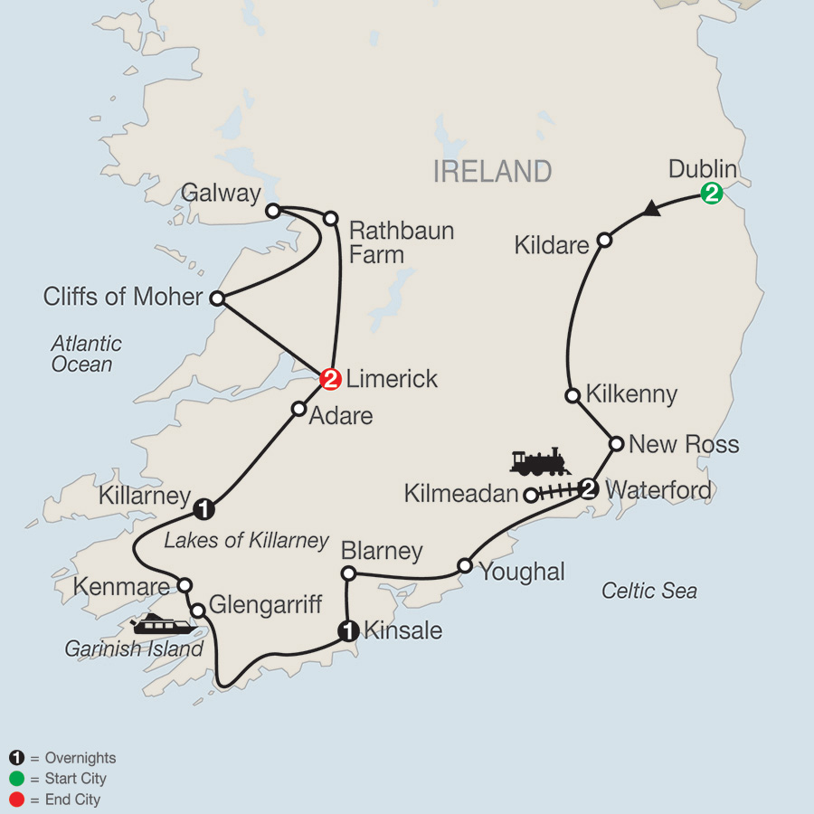 Itinerary map of From Ireland