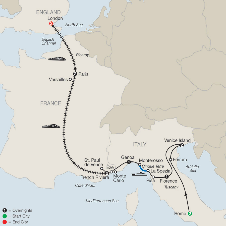 Itinerary map of The Best of Italy & France with London 2018 from Rome to London