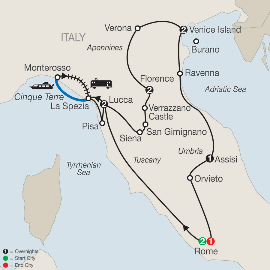 Itinerary map of Italian Treasures 2018 from Rome to Rome