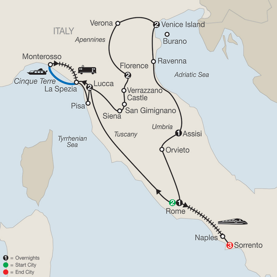 Itinerary map of Italian Treasures with Sorrento 2018 from Rome to Sorrento