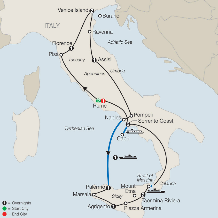 Itinerary map of The Best of Italy & Sicily 2018 from Rome to Rome