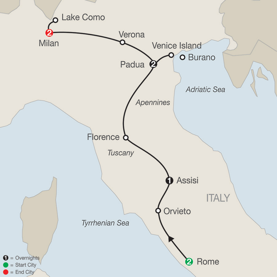 Itinerary map of Italian Vista 2018 from Rome to Milan