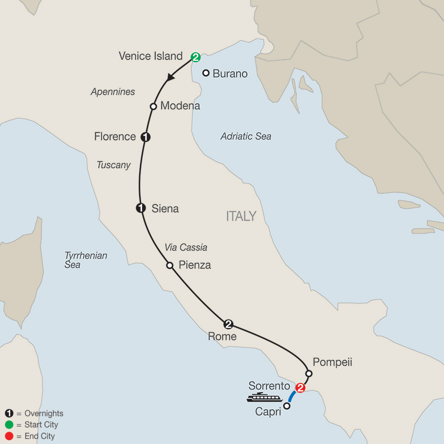 Itinerary map of Italian Tapestry 2018 from Venice to Sorrento