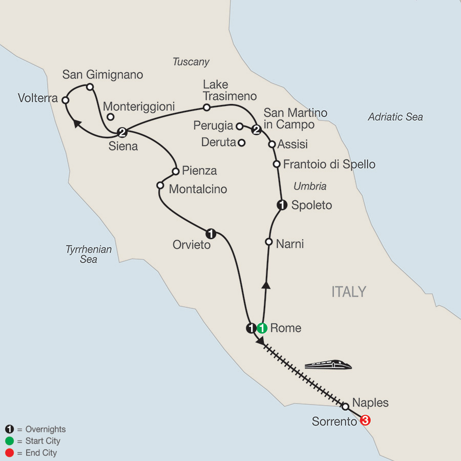 Itinerary map of Gems of Umbria & Tuscany with Sorrento 2018 from Rome to Sorrento