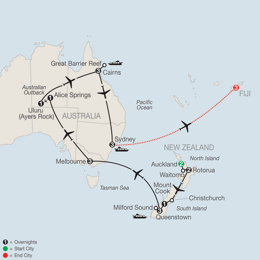Down under discovery with fiji 2018 from auckland to nadi globus itinerary map of down under discovery with fiji 2018 from auckland to nadi gumiabroncs Choice Image