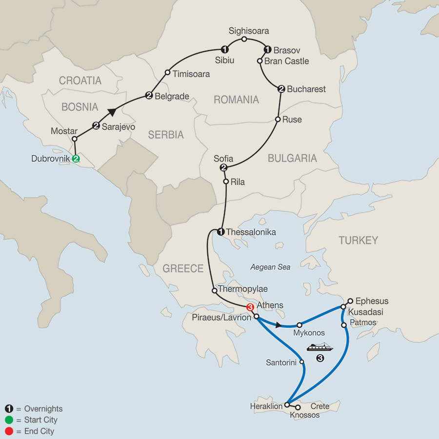 The Best of the Balkans with 3Night Greek Cruise (REK2018)